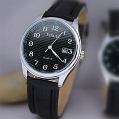 Masculino Relógio de Pulso Quartz Calendário / Impermeável Couro Banda Preta / Marrom marca-