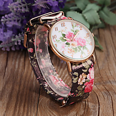 Women's Fashion Flower Pattern PU Band Quartz Watch Cool Watches Unique Watches