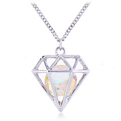 Fashion  Crystal Gem Hollow Out Pendant  Alloy Necklace