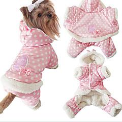 Perros Abrigos / Saco y Capucha / Pijamas Rosado Ropa para Perro Invierno / Primavera/Otoño Lunares Adorable / Mantiene abrigado