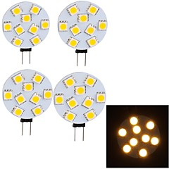 YouOKLight® 4PCS G4 4W 3000K 380lm 9-SMD 5050 LED Warm Light Car Reading Lamp(DC8~30V)