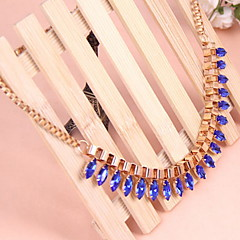 Fashion Jewelry Choker Blue Water Droplet Pendant Necklace