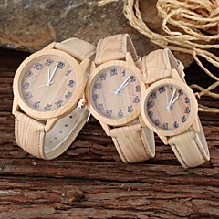 parrets forældre-barn khaki træ stil pu band afslappet quartz ur