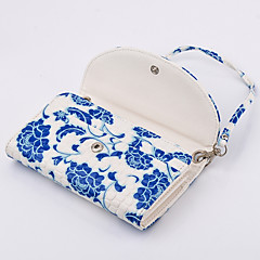 pu tegnebog dame håndtaske blå og hvid porcelæn til Samsung s6 kant plus / s6 kant / s6 / S5 / s4 / s3 / s2 / s / s5mini / s4mini / s3mini