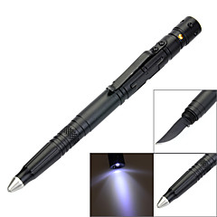 LAIX® B007 EDC Tungsten Steel Outdoor Self-Defense Tactical Black Ink Pen W/ Flashlight/Knife