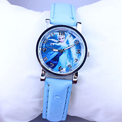 Children's Frozen Elsa Pattern Dial PU Band Quartz Cute Cartoon Wrist Watch