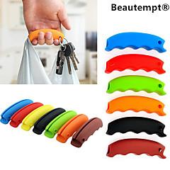 1db többfunkciós szilikon bevásárló táska fogantyúval fuvarozó élelmiszerbolt tulajdonosa, kulcstartó lyuk (véletlenszerű szín