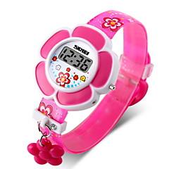 SKMEI Dziecięce Modny Cyfrowe LCD Guma Pasmo Kwiat Różowy Purpurowy Purple Różowy