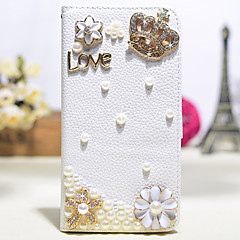 Handmade Diamond Crown Pearl Flowers PU Leather Full Body Case with Kickstand for Samsung Galaxy Note 2/3/4/5