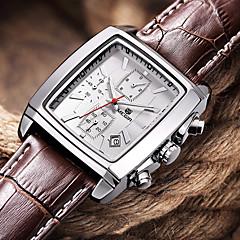 Herren Armbanduhr Japanischer Quartz Kalender / Chronograph / Wasserdicht Leder Band Schwarz / Braun Marke- MEGIR