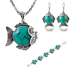 Hot 3 Color Fashion Lovely Fish Turquoise Pendant Necklace Drop Earring Bracelet Wedding Jewelry Set
