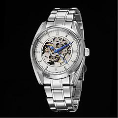Hombre Reloj Esqueleto Cuerda Automática Acero Inoxidable Banda Reloj de Pulsera Blanco