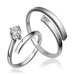 hot salg 2stk cz sten sterling sølv ring par ringe vielsesring til kvinde&mand promis ringe til par