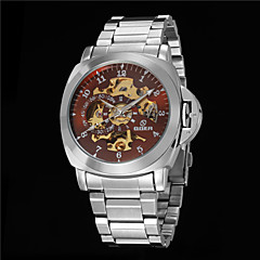 Men's Business Hollow Full Automatic Round Dial Stainless Steel Band Machine Analog Wrist Watch(Assorted Color) Cool Watch Unique Watch