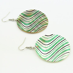 Vintage Look Natural Natural Sea Shell Round Color Printed Drop Dangle Earring(1Pair)