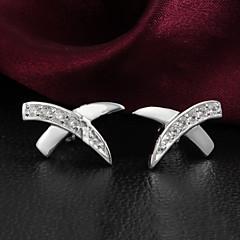 Oorknopjes Clip oorbellen Sterling zilver Zirkonia Zilver Sieraden Voor Bruiloft Feest Dagelijks Causaal 1 Set