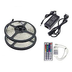 Z®Zdm 2 × 5M 150X5050 SMD RGB LED Stribe Lys Og 44 Taster Fjernbetjening EU US UK Au (Ac110-240V)