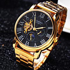 Hombre Reloj de Pulsera El reloj mecánico Cuerda Automática Resistente al Agua Huecograbado Acero Inoxidable Banda De Lujo DoradoBlanco