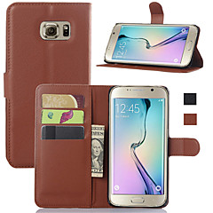 For Samsung Galaxy etui Pung Kortholder Med stativ Flip Etui Heldækkende Etui Helfarve Kunstlæder for SamsungS6 edge plus S6 edge S6 S5