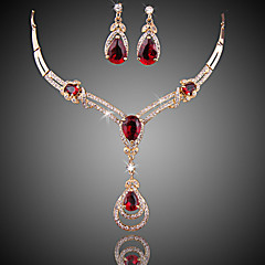Jewelry Set Fashion Luxury Zircon Cubic Zirconia Gold Plated Drop Red For Party Special Occasion Anniversary Birthday Gift 1setWedding