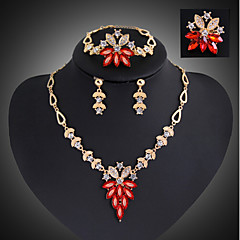 Vintage Pierced Flowers Style Rhinestone Gold Plated (Including Necklace, Earring, Bracelet, Ring) Jewelry Sets