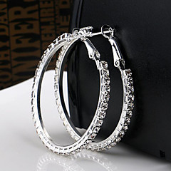 High Quality Crystal Earrings Round Silver Hoop Earrings(3*0.3cm size)(1 pair)