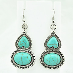 Vintage Look Antique Silver Plated Alloy Love Heart Turquoise Stone Drop Dangle Earring(1Pair)