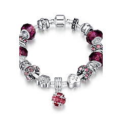Classic Vintage Women's Rhinestones Stoving Varnish Glass Silver Plated Tin Alloy Charm Bracelet(Pink,Purple)(1Pc)