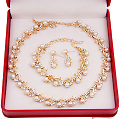 Fashion Women Costume Party Gold Plated Imitation Pearl Jewelry Sets