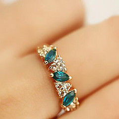 Vintage Alloy Enamel Crystals Ring