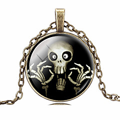 HUALUO®Cheap Retro Time Gem Skull Necklace