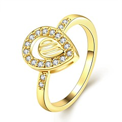 Fashion Exquisite Women's  Inlay White Zircon Gold-Plated Brass Statement Rings(Golden,Rose Gold,)(1Pcs)
