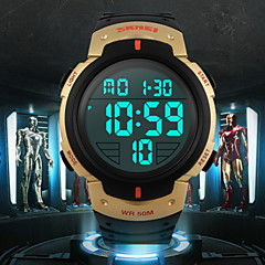 Herren Armbanduhr digital LCD / Kalender / Chronograph / Wasserdicht / Alarm / Sportuhr Caucho Band Schwarz Marke- SKMEI