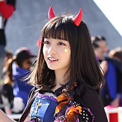 Cosplay Pruiken Cosplay Alice Zwart Middel Anime Cosplay Pruiken 50 CM Hittebestendige vezel Mannelijk / Vrouwelijk