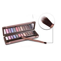 12 Paleta de Sombras Brilho Paleta da sombra Pó Normal Maquiagem para o Dia A Dia / Maquiagem Esfumada