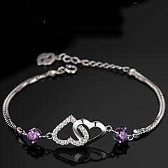 S925 Pure Stering Silver Double Heart Shape Bracelet,Fine Jewelry