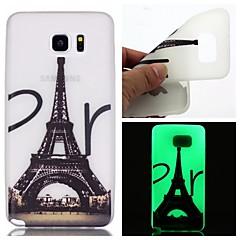 Varten Samsung Galaxy Note Hehkuu pimeässä Etui Takakuori Etui Eiffelin torni TPU Samsung Note 5