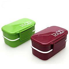 12:00 reloj de 2 capas almuerzo bento cuadro 1.4l microondas plástico contenedor de alimentos del horno