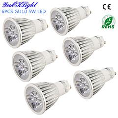 YouOKLight® 6PCS GU10 5W 450lm 3000K/6000K  5-High Power LED SpotLight Bulb Lamp  (AC110-120V/220-240V)-Silver