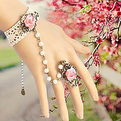 Vintage Gothic Style Lace Rose Adjustable Ring Bracelet for Wedding Party Decoration