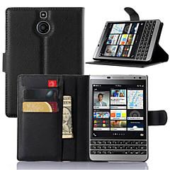 Mert BlackBerry tok Kártyatartó / Állvánnyal / Flip Case Teljes védelem Case Egyszínű Kemény Műbőr mert BlackBerry