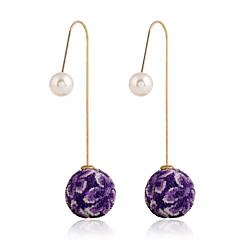 Druppel oorbellen Kristal Modieus Europees Parel Imitatieparel Strass 18K goud imitatie Diamond Oostenrijk Crystal LegeringGrijs Paars