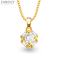 Square Ball Big Crystal Pendant Jewelry 18K Gold Plated White Simulated Diamond Pendants for Women/Men P30133