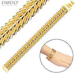 Gold Bracelet Men Jewelry New Trendy 18K Gold Plated Fashion Feather Chain Stainless Steel Bracelet For Women B40207