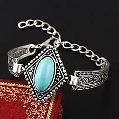 European Style Elegant Vintage Turquoise Square Charm Bracelet