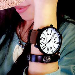 Мужской Женские Унисекс Модные часы Кварцевый Кожа Группа Черный Коричневый