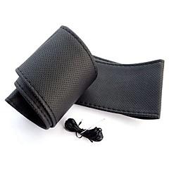 ziqiao universella halkskydd andas PU läder Gör det själv bil auto ratt täcker fallet med nålar (37 ~ 38cm)