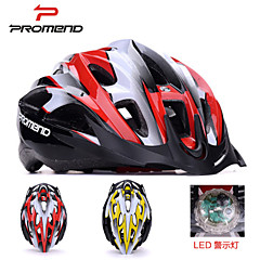 Promend® Unisex Sports Bike Helmet/ LED Safety Light 21Vents Protective Ride Helmet / Mountain/Road Cycling