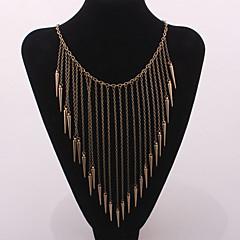 Women Fashion Punk Spike Rivet Long Tassel Choker Necklace