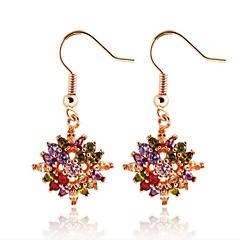 Allergy Free Silver Plated Women Drop Earrings European Style Luxury Zircon Insert Multicolor Flower Earrings